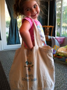 Lily with Henry's Library bag from Vistaprint