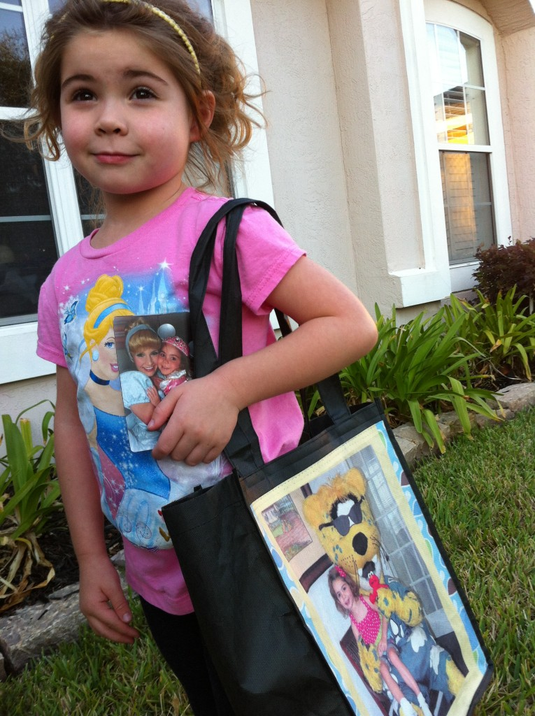 Lily with her favorite Princess magnet and shopping bag from York Photo