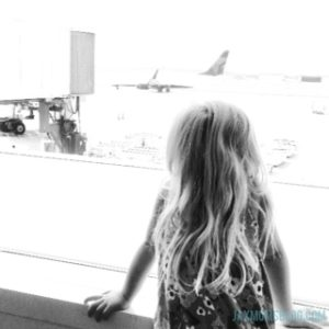 At the airport with my future world traveler.