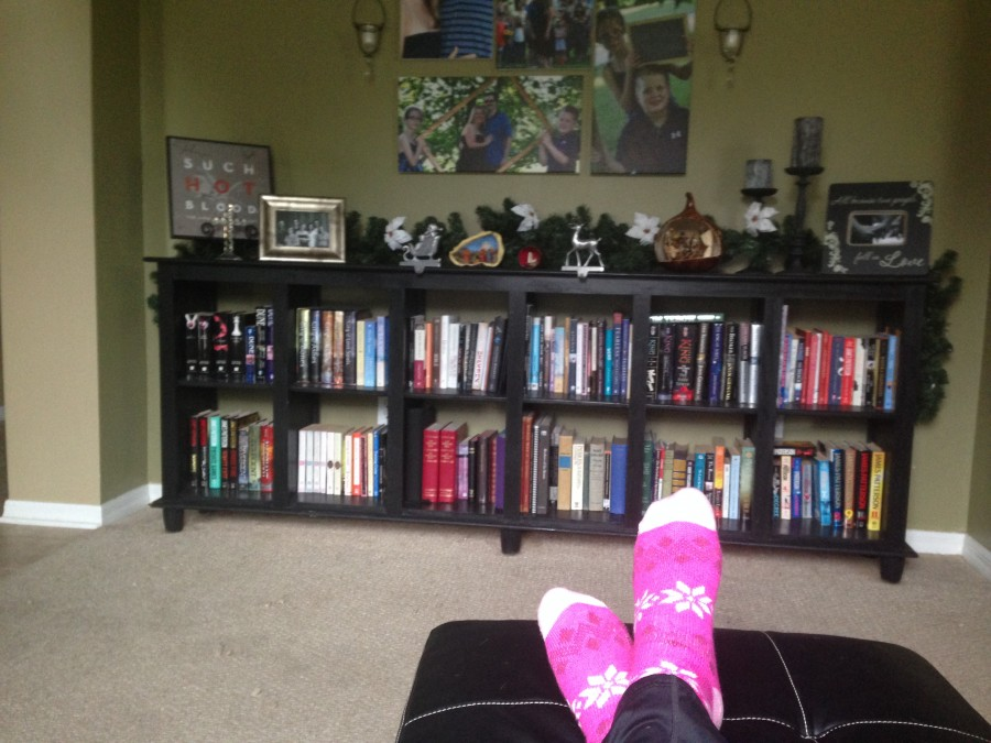 This is the view from my chair where I do all of my reading and writing. Yes, those are my Christmas socks and yes, they are as cozy as they look.