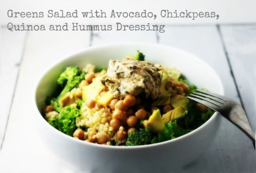 Greens Salad with Avocado, Chickpeas, Quinoa and Hummus Dressing is a ...