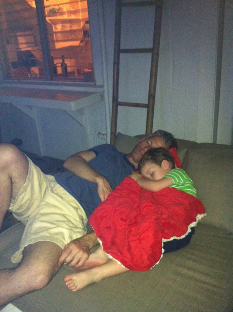 """Even on vacation in Hawaii, Noah and Daddy would fall fast asleep together"