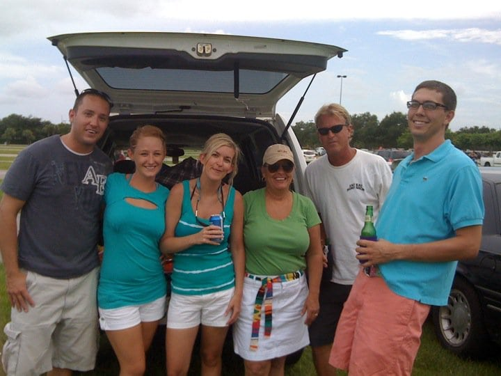 Tailgating before a Dolphins game. Extra cooler of cocktails courtesy of the money saved by getting out tickets through LivingSocial.