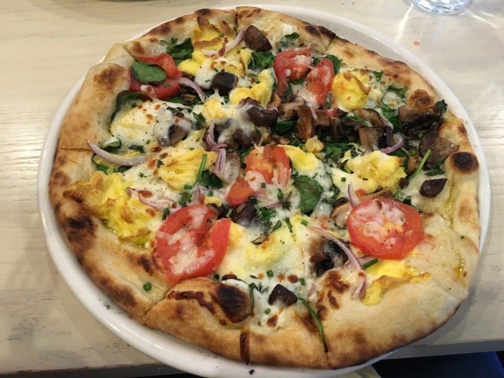 Breakfast Pizza at Taverna--the kids love it!