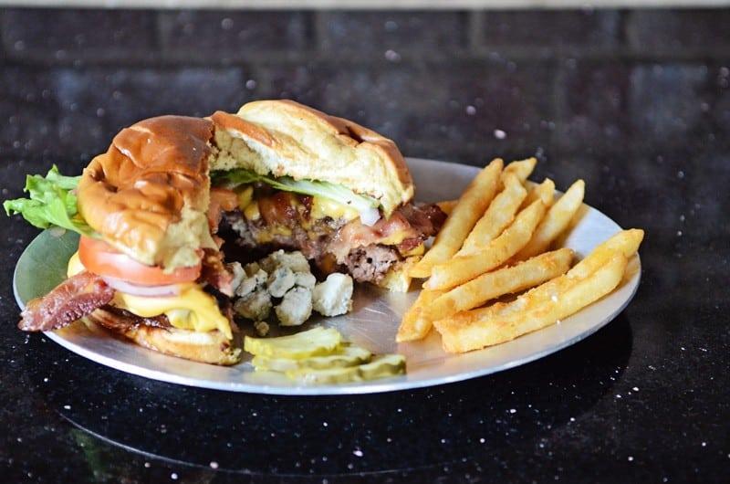 Stuffed Blue Cheese Burger at Kickbacks Gastropub