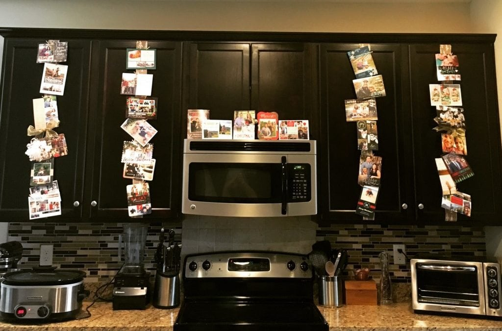 Do it yourself holiday cards display last years diy kitchen holiday card display solutioingenieria Choice Image