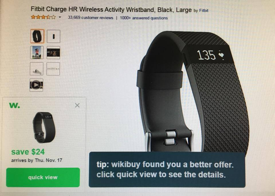 Wikibuy comparing prices on the exact same item on Amazon