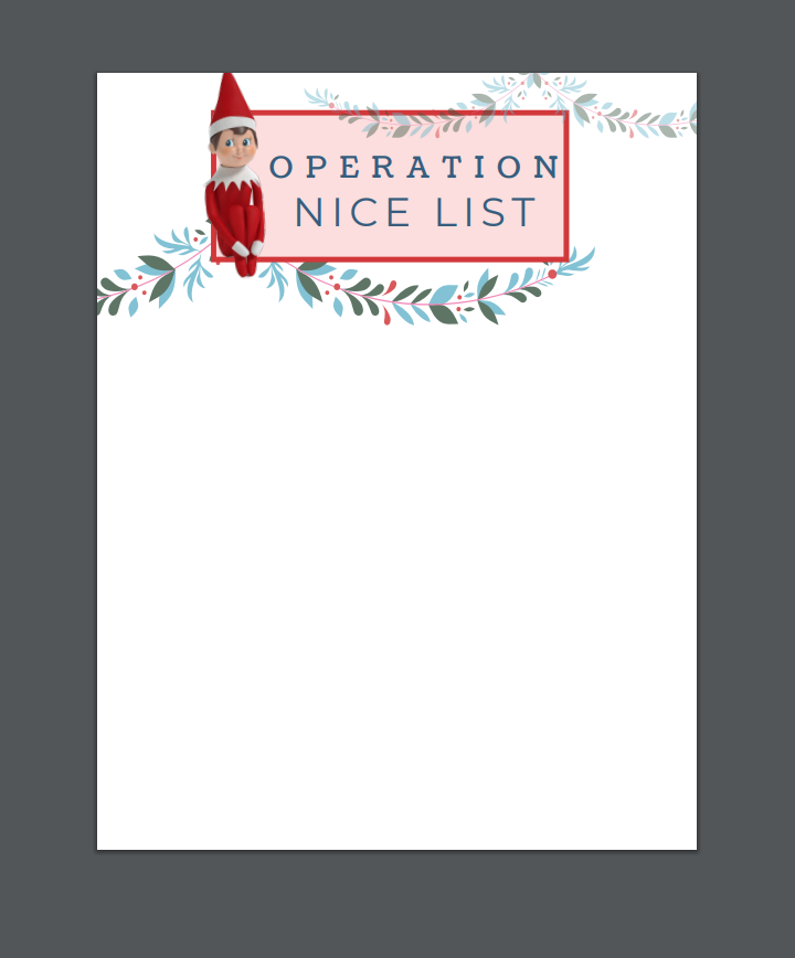Elf on the Shelf Operation Nice List